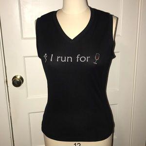 """I Run For Wine"" tech t-shirt (read description)"